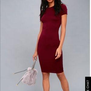 NWT Lulus Like Minded Burgundy Bodycon Midi Dress
